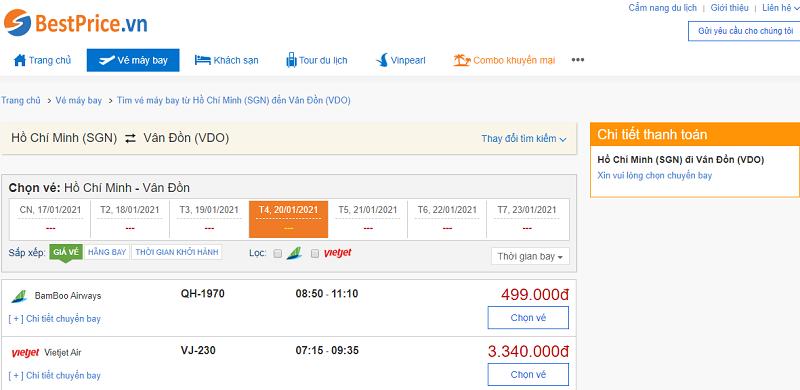 Vé máy bay đi Vân Đồn tháng 1