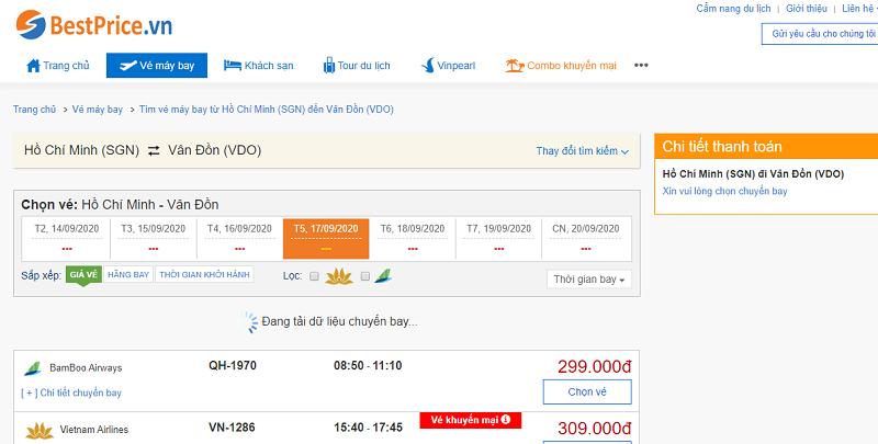 Vé máy bay đi Vân Đồn tháng 9