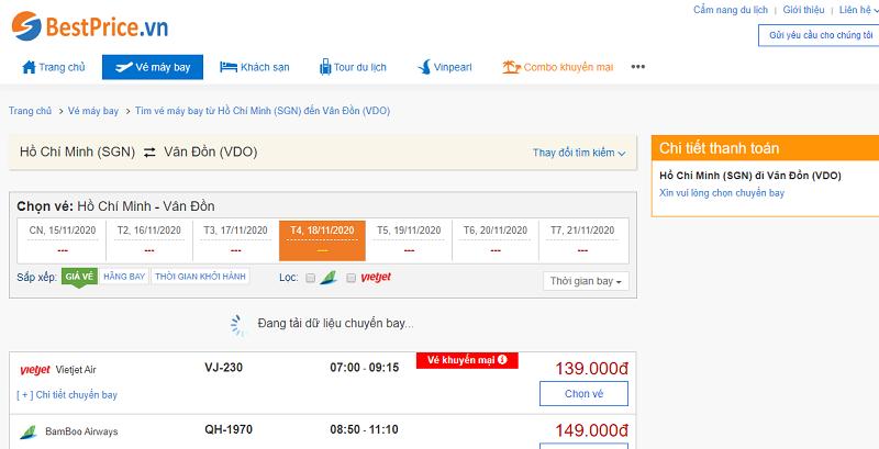 Vé máy bay đi Vân Đồn tháng 11