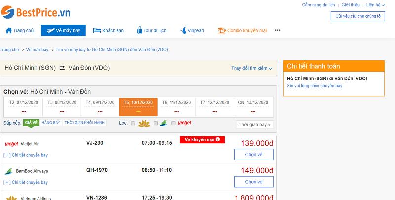 Vé máy bay đi Vân Đồn tháng 12