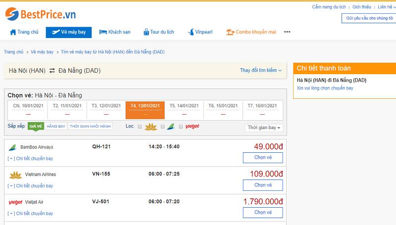Vé máy bay đi Đà Nẵng tháng 1
