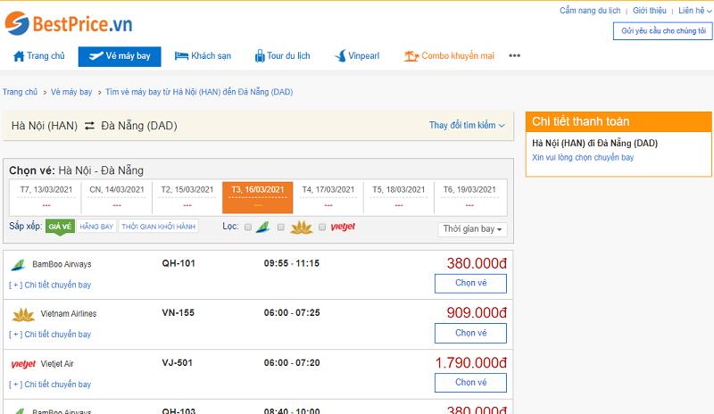 Vé máy bay đi Đà Nẵng tháng 3