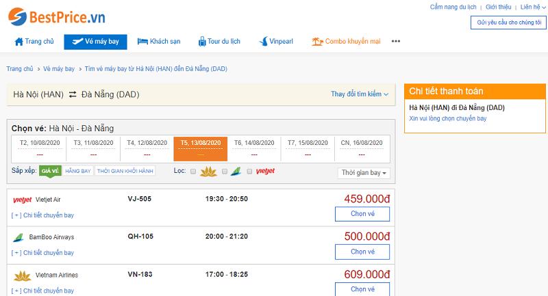 Vé máy bay đi Đà Nẵng tháng 8