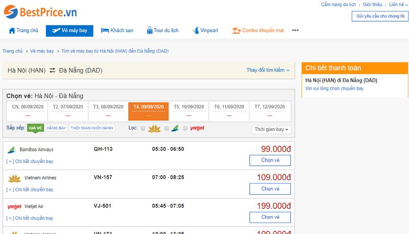 Vé máy bay đi Đà Nẵng tháng 9