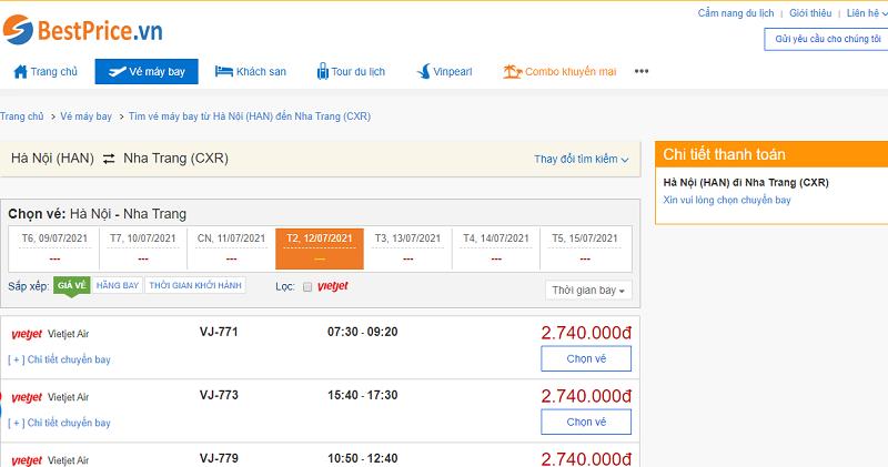 Vé máy bay đi Nha Trang tháng 7
