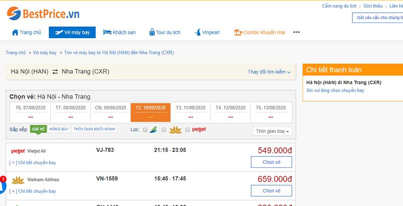 Vé máy bay đi Nha Trang tháng 8