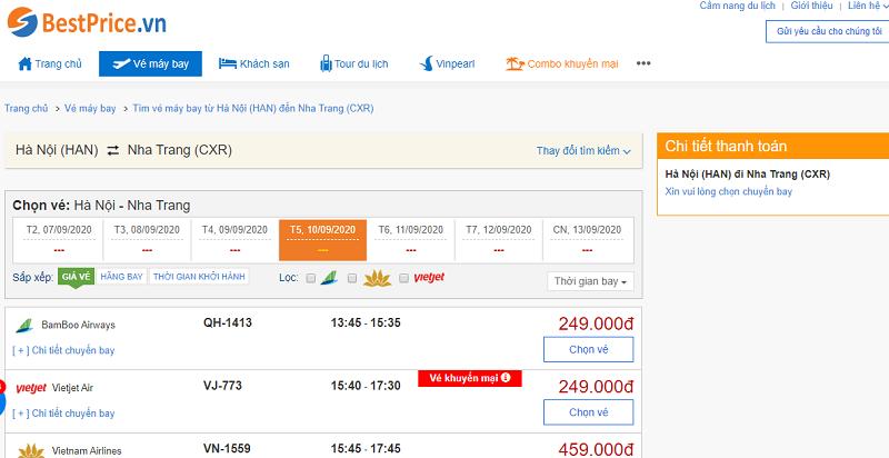 Vé máy bay đi Nha Trang tháng 9