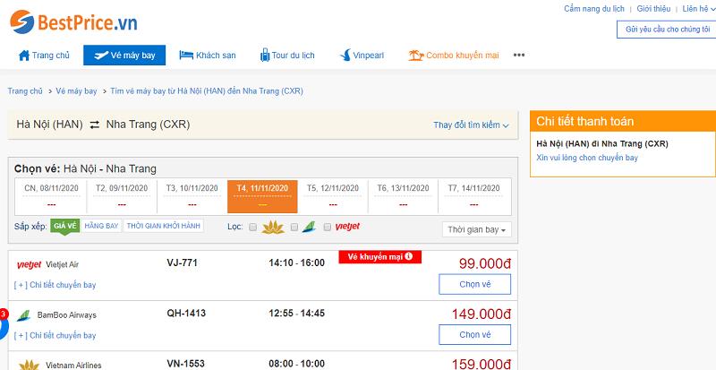 Vé máy bay đi Nha Trang tháng 11