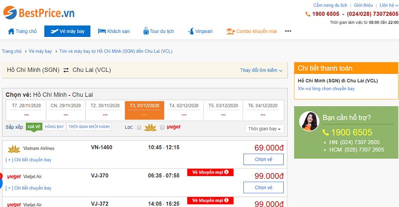 Vé máy bay đi Chu Lai tháng 1