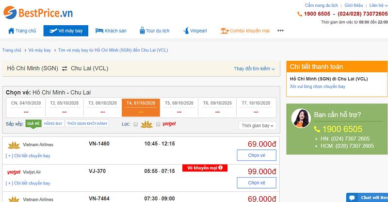 Vé máy bay đi Chu Lai tháng 10