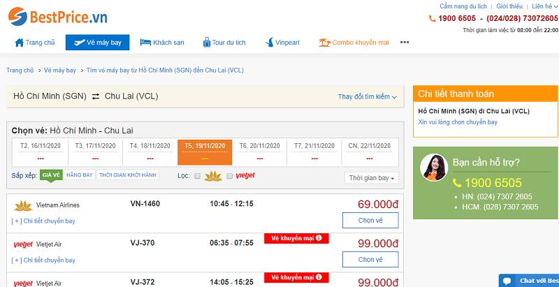 Vé máy bay đi Chu Lai tháng 11