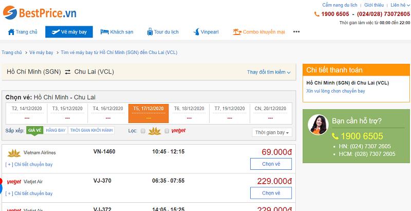 Vé máy bay đi Chu Lai tháng 12