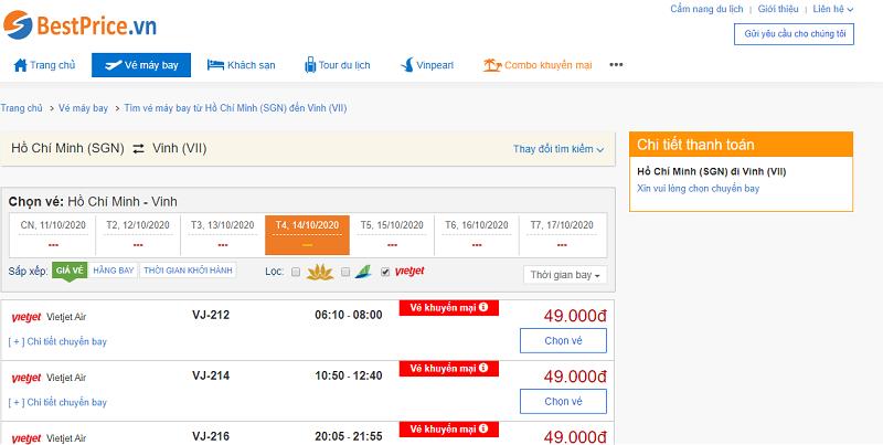 Vé máy bay đi Vinh Vietjet Air
