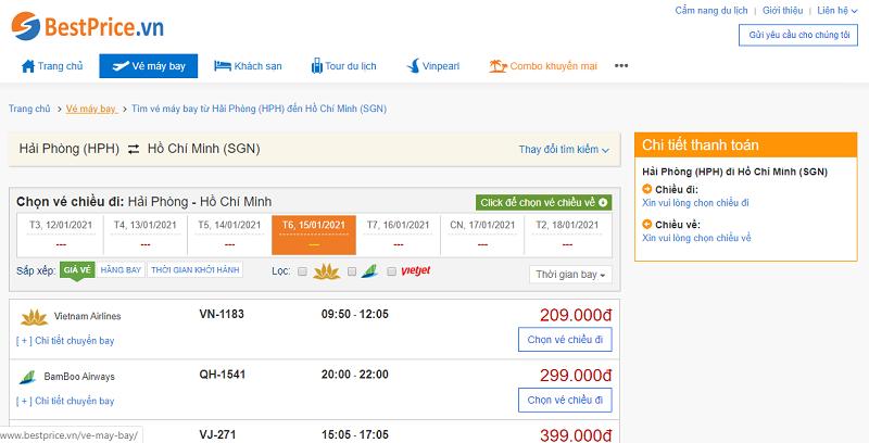 Vé máy bay đi Sài Gòn tháng 1