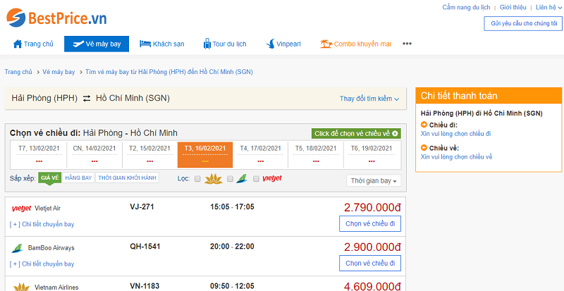 Vé máy bay đi Sài Gòn tháng 2