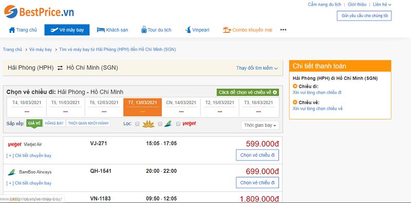 Vé máy bay đi Sài Gòn tháng 3