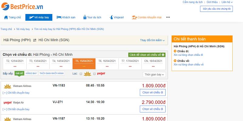 Vé máy bay đi Sài Gòn tháng 4