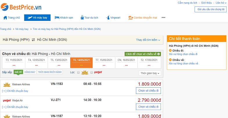 Vé máy bay đi Sài Gòn tháng 5