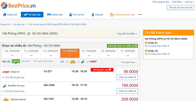 Vé máy bay đi Sài Gòn tháng 9