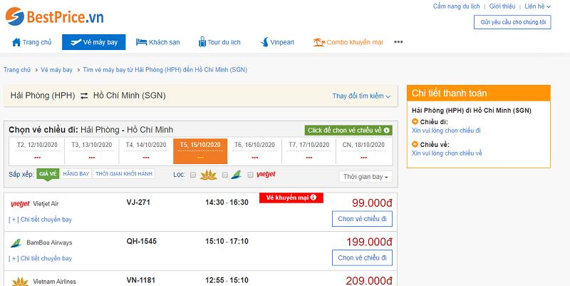 Vé máy bay đi Sài Gòn tháng 10
