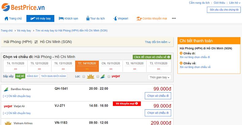 Vé máy bay đi Sài Gòn tháng 11