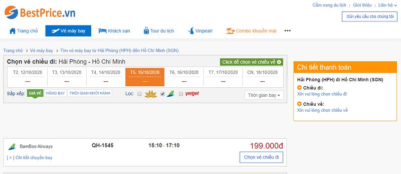 Vé máy bay đi  Sài Gòn Bamboo Airways