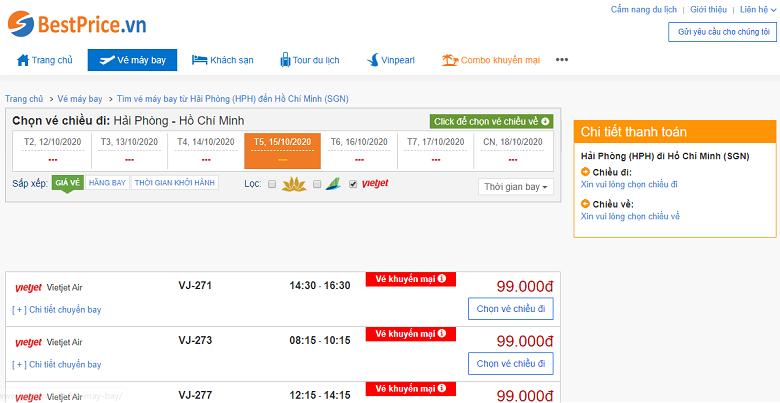 Vé máy bay đi  Sài Gòn Vietjet Air