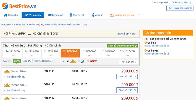 Vé máy bay đi  Sài Gòn Vietnam Airlines