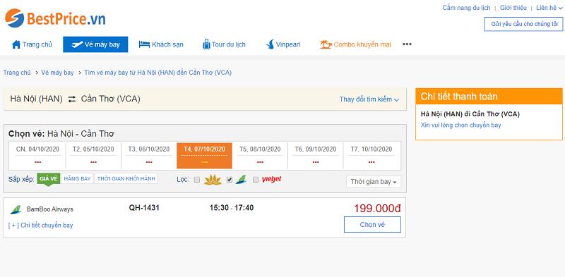 Vé máy bay đi Cần Thơ Bamboo Airways