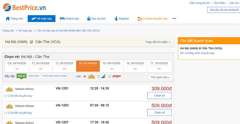 Vé máy bay đi Cần Thơ Vietnam Airlines