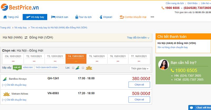 Vé máy bay đi Đồng Hới tháng 1