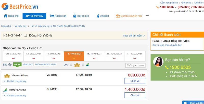 Vé máy bay đi Đồng Hới tháng 2