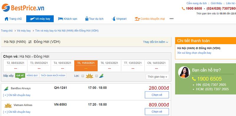Vé máy bay đi Đồng Hới tháng 3