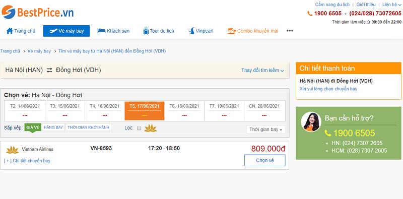 Vé máy bay đi Đồng Hới tháng 6