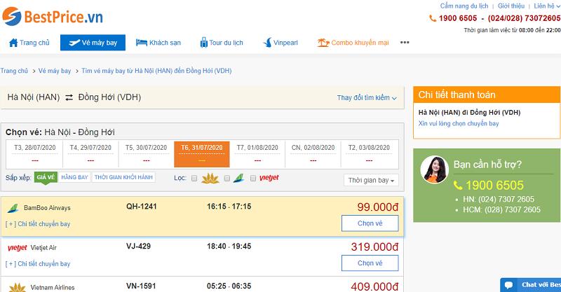 Vé máy bay đi Đồng Hới tháng 7