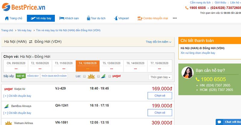 Vé máy bay đi Đồng Hới tháng 8