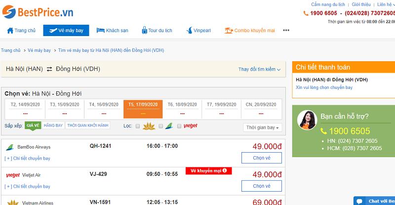 Vé máy bay đi Đồng Hới tháng 9