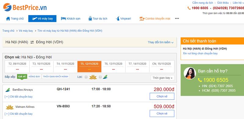 Vé máy bay đi Đồng Hới tháng 11