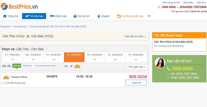 Vé máy bay đi Côn Đảo tháng 4