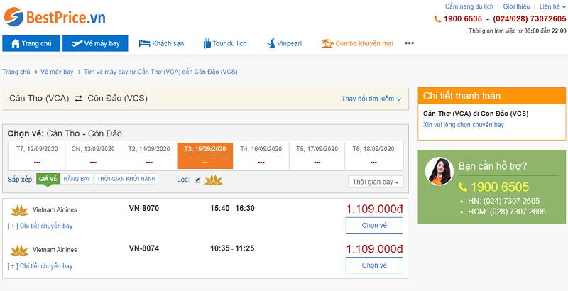 Vé máy bay đi Côn Đảo tháng 8