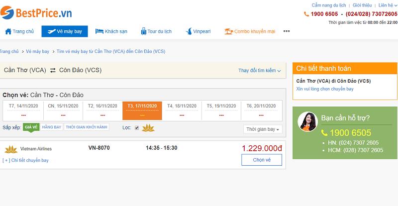 Vé máy bay đi Côn Đảo tháng 11