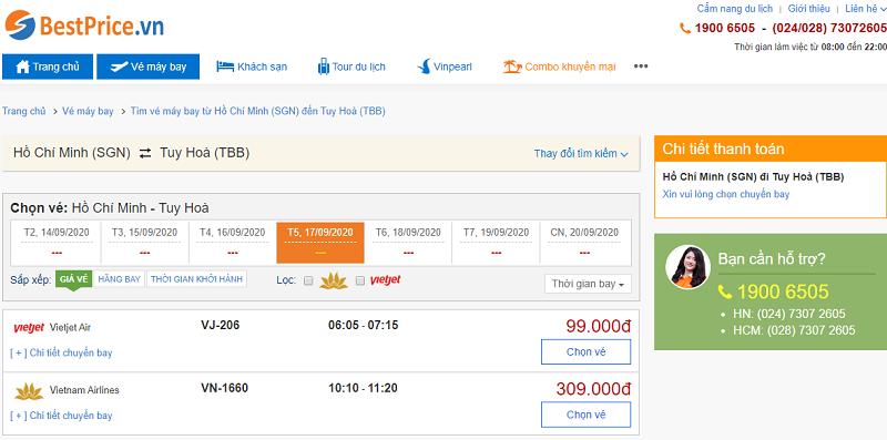 Vé máy bay đi Tuy Hòa tháng 9