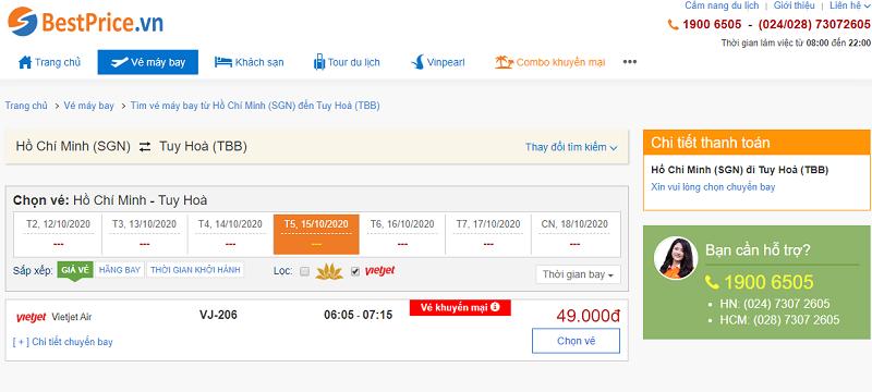 Vé máy bay đi Tuy Hòa Vietjet Air