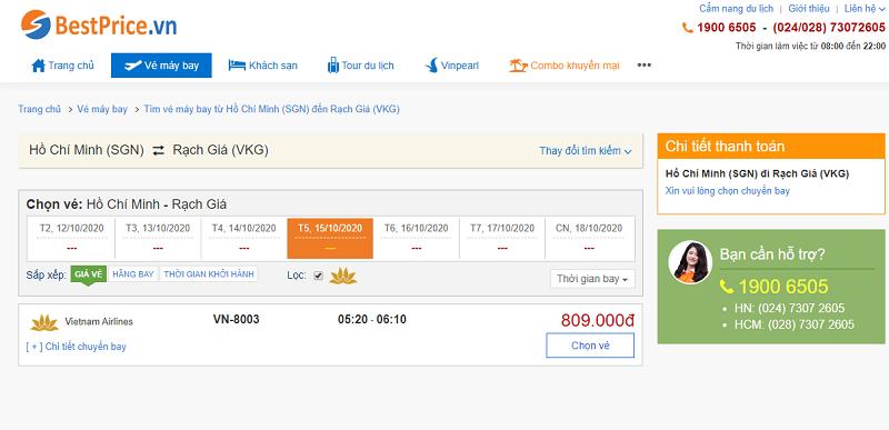 Vé máy bay đi Rạch Giá Vietnam Airlines