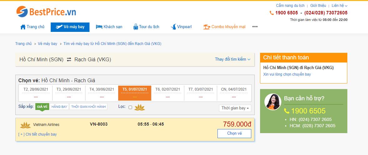 Vé máy bay đi Rạch Giá tháng 7