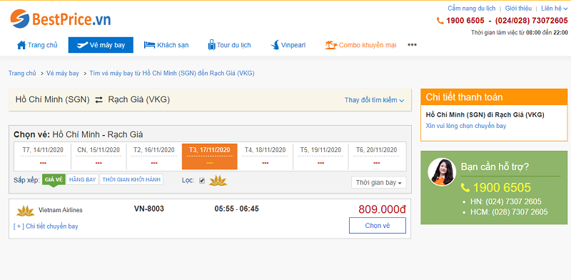 Vé máy bay đi Rạch Giá tháng 11