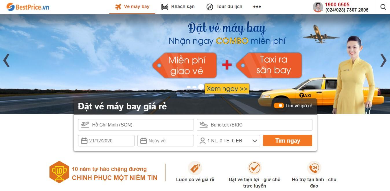 Giao diện săn vé giá rẻ đi Thái Lan tại bestprice.vn