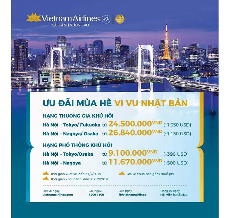 Săn vé giá rẻ đi Nhật Bản theo chương trình khuyến mại của Vietnam Airlines