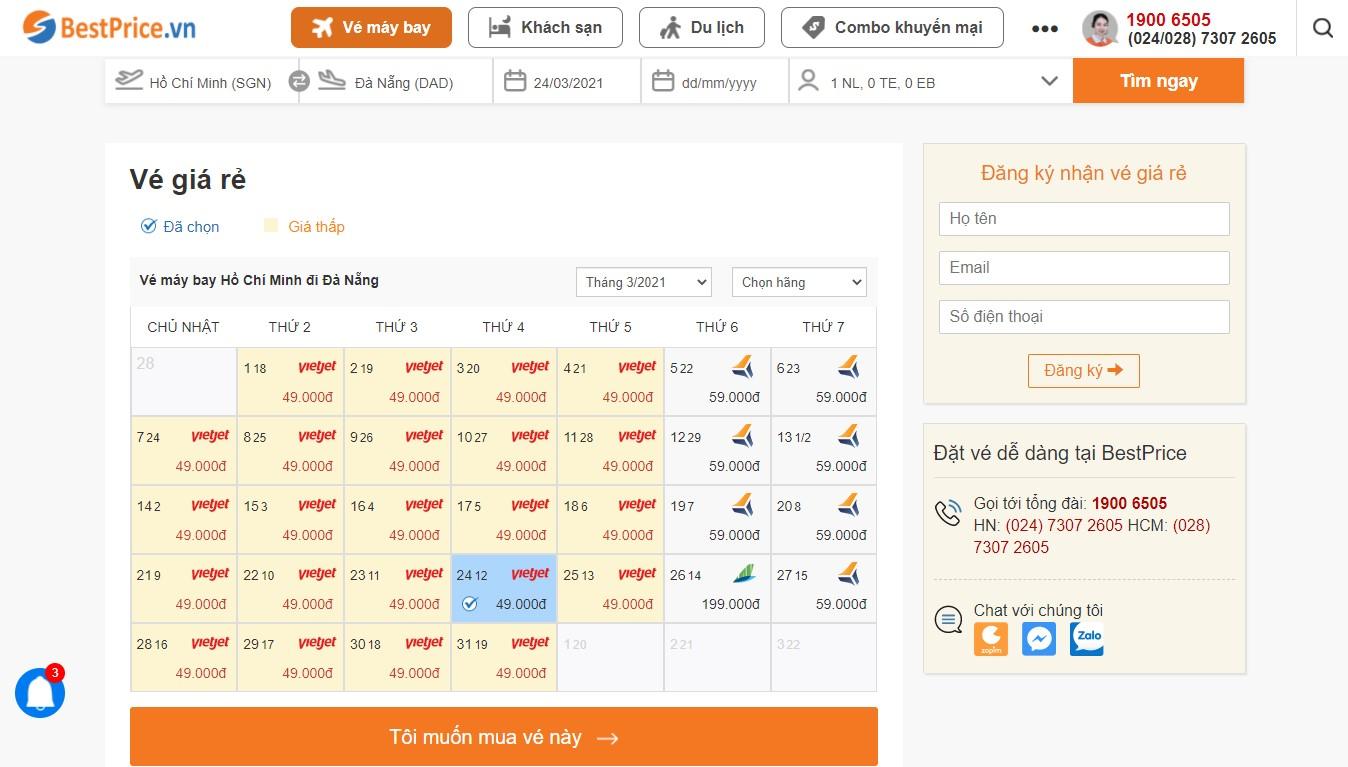 Bảng vé máy bay đi Đà Nẵng giá rẻ trong tháng
