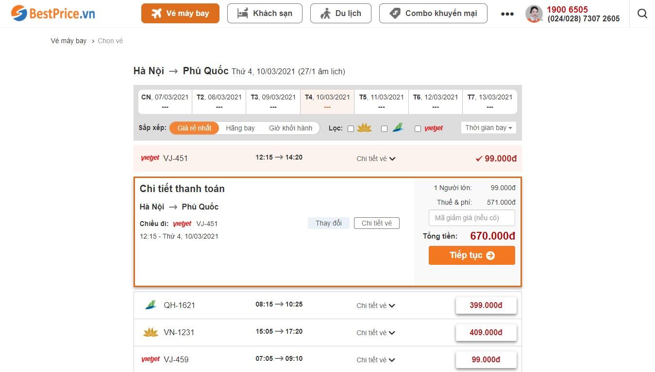 Săn vé máy bay giá rẻ đi Phú Quốc tháng 3